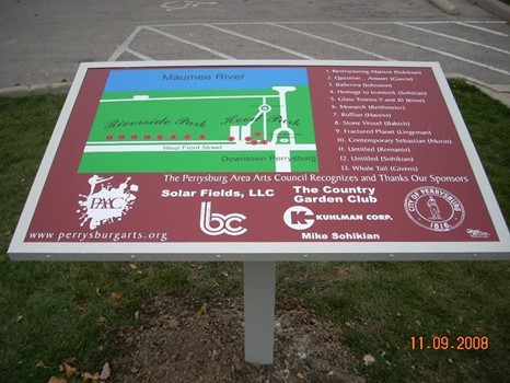 Fabricated from aluminum, with clear overlay, installed in Downtown Perrysburg, Ohio during the art walk.